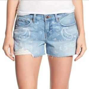 Lucky Brand The Cut Off Paisley Ripped Denim Short